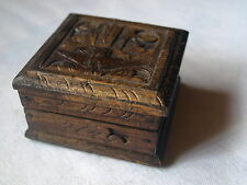 WOODEN HANDCARVED SQUARE TRINKET BOX .  BIRD DECOR