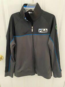 Fila Sport Track Jacket Mens Large Black Gray Italia - EUC