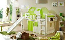 Lit mezzanine avec toboggan THEO R Hêtre massif teinté blanc tissus Beige-Vert