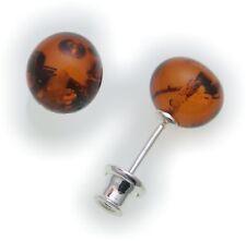 Ohrringe Stecker Bernstein echt Silber 925 Sterlingsilber Neu Qualität Kugel