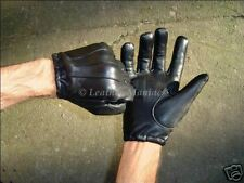 black leather cop gloves police - short and thin leather gloves