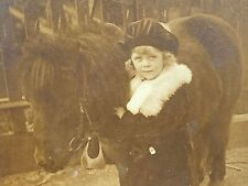 CUTE 1900 Cabinet Card Photo ADORABLE SHY Little Girl with Miniature PONY Horse
