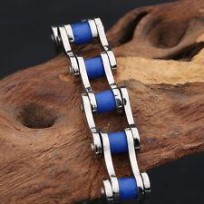 Silver Blue Women Men Motorcycle Bike 10mm Stainless Steel Chain Bracelet Hot