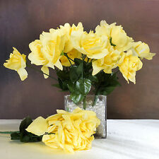 84 Yellow SILK OPEN ROSES Wedding Discounted Flowers Bouquets for Centerpieces
