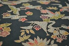 Japanese Silk Fabric Dark Blue with Multicoloured Floral and Fan Design 1279