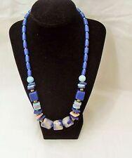 Vintage Blue Ceramic beaded necklace, Art Deco Big Bold Art Blue necklace, Gift