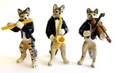 Miniature Ceramic Tabby Cat Figurine -  Musical 3 Piece Band