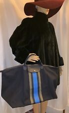 NWOT authentic LONGCHAMP navy blue oversized CANVAS & Vachette WEEKENDER Tote