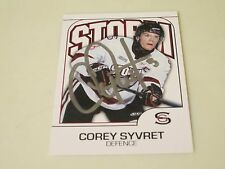 COREY SYVERT AUTOGRAPHED 2009-10 GUELPH STORM OHL TEAM CARD