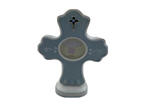 RUSS Baby Blue Standing Ceramic Cross w/Picture Frame - New in Box