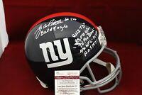 Y.A. Tittle Signed Autograph NY Giants Full Size Helmet W/6 Inscriptions - JSA