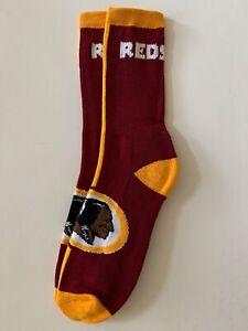 Washington Redskins Adult Socks- 1 Pair- Large - Brand New Free Shipping (E2)