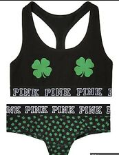 New VICTORIAS SECRET Pink Shamrock print Bra Top & Cheekster Panty SET Medium M