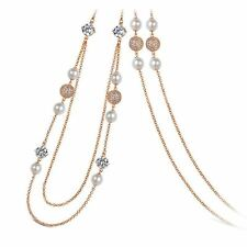 """Imitation Pearl and Crystal Necklace,34"""" + 2"""""""