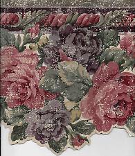 Deep Burgundy and Purple Roses Sculptured WALLPAPER BORDER