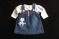 Baby clothes GIRL 0-3m outfit denim pinafore dress,cat,pocket/long sleeve top