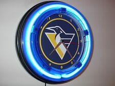 Pittsburgh Penguins Hockey Gameroom Bar Man Cave Blue Neon Wall Clock Sign