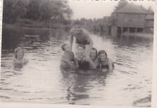 1950s Handsome nude men women bathing in the river old Soviet Russian photo