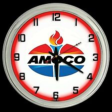 """New listing 16"""" Amoco Oil Gasoline Logo Sign Red Neon Clock Chrome Finish Man Cave Gas"""