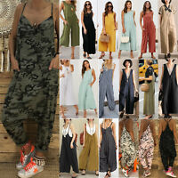 Women's Baggy Dungarees Jumpsuit Summer Casual Romper Playsuit Trousers Overalls