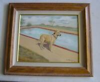 Orig OIl Painting Golden Lab by Pool in Palm Springs Framed by M. Titolo 20x16