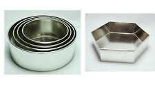 "SET OF 6 CAKE BAKING PANS 5 TIER CIRCLE ROUND + 6"" HEXAGON WEDDING CAKE TINS"