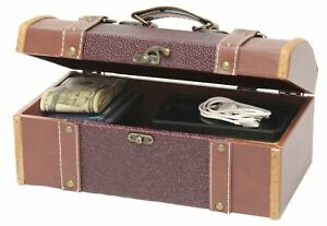 Vintiquewise(TM) Dresser Valet Leather Chest with Fabric Lining