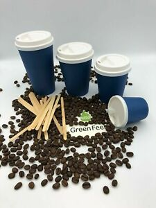 100 x Navy Blue Paper Cups Disposable Coffee Tea Cups For Hot Drinks With Lids