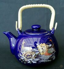 Contemporary Kutani Style Single Cup Teapot With Bamboo Handle Peacocks Cobal...