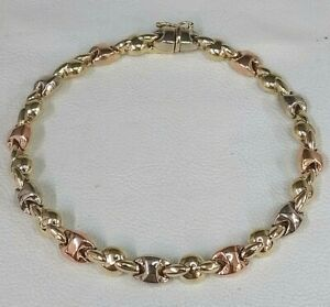9ct Gold Tri Colour Ladies Bracelet (real gold) Fantastic Condition Ideal Gift