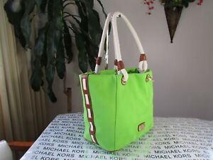 NWT Michael Kors Canvas Marina Large Crab Bag Pear Green