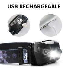 LED Kopflicht Stirnlampe Headlamp Sensorschalter Wiederaufladbar Taschenlampe