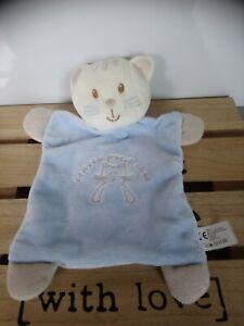 Doudou plat chat coucou petit chat blanc bleu Vêtir état neuf