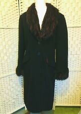 Ladies Smart Wool & Cashmere Blend Winter Coat Size 12/14 Long Black