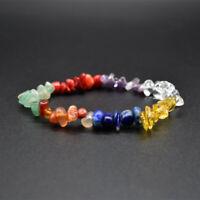 Stretch 7 Chakra Chipped Raw Natural Stone Yoga Healing Crystal Bracelet Jewelry