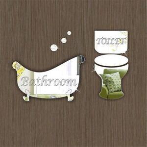 Pack of Bathroom & Toilet Door Sign Plaque Office School Hotel Acrylic Mirrors
