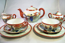 11 Piece Japanese Kutani Eggshell Porcelain Tea Set Geisha Gold Enamel