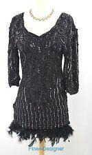 NEW LOOK Vintage 80s custom dress sheath feather boa hem silk bead FIT SZ S SML