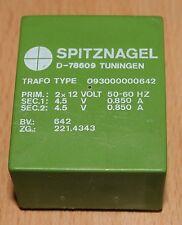Printtrafo Pri. 2x12V Sec.1 4,5V, Sec.2 4,5V, 7VA , Spitznagel