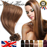 UK AAAA+ Glue Nail U Tip Pre-Bonded Keratin 100% Real Human Hair Extensions uk