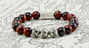 Mens Gemstone Bracelet-Classic Red tigers Eye & Sterling Silver Beaed bracelet