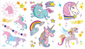 Temporary Glitter Tattoos Stickers Party Bags Unicorn Owl Princess Butterfly Fun