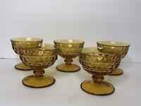 Vintage 5 piece Lot Amber Brown Custard Dessert Glasses Footed Cups Stemware