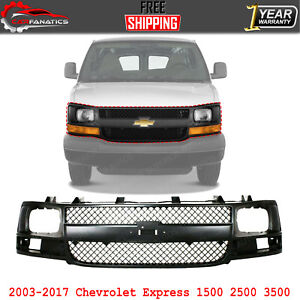 Front Grille Gray Shell & Insert For 2003-2017 Chevrolet Express 1500 2500 3500