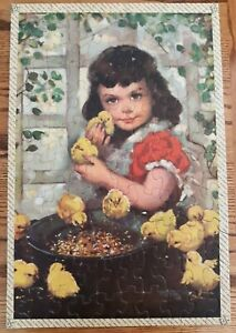 Vintage 1959 Tuco Picture Puzzle Little Chicks 100 Piece Girl Chickens COMPLETE