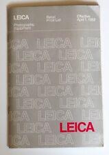Leica Photographic Equipment Retail Price List, 1982 | BP 15M 4/82 E. Leitz
