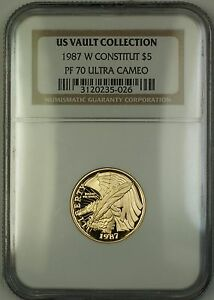 1987-W Proof $5 Constitution Gold Coin NGC PF-70 Ultra Cameo *PERFECT GEM* (B)