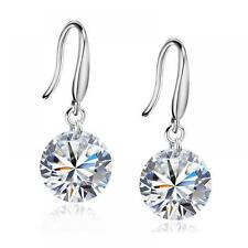 Silver Plated Jewelry White Clear Gift Zircon Crystal Earrings Hook Silver