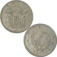 1866 Shield Nickel 5 Cent Piece F Fine 5c US Type Coin Collectible