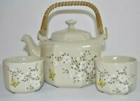 Vintage OMC Japan Pottery, Tea Set - Teapot With Rattan Handle Plus 2 Cups